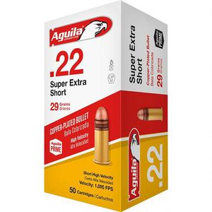 Aguila Super Extra .22 Short Ammunition 50 Rounds 29 Grain Copper Plated LRN 1095fps