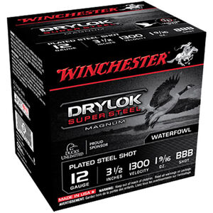 "Winchester Drylok Super Steel 12 Gauge Ammunition 25 Round Box 3-1/2"" BBB Plated Steel Shot 1-9/16 oz 1300 fps"