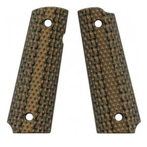 VZ Custom Gun Grips Full Size 1911 Diamond Back Very Aggressive Texture G10 Hyena Brown