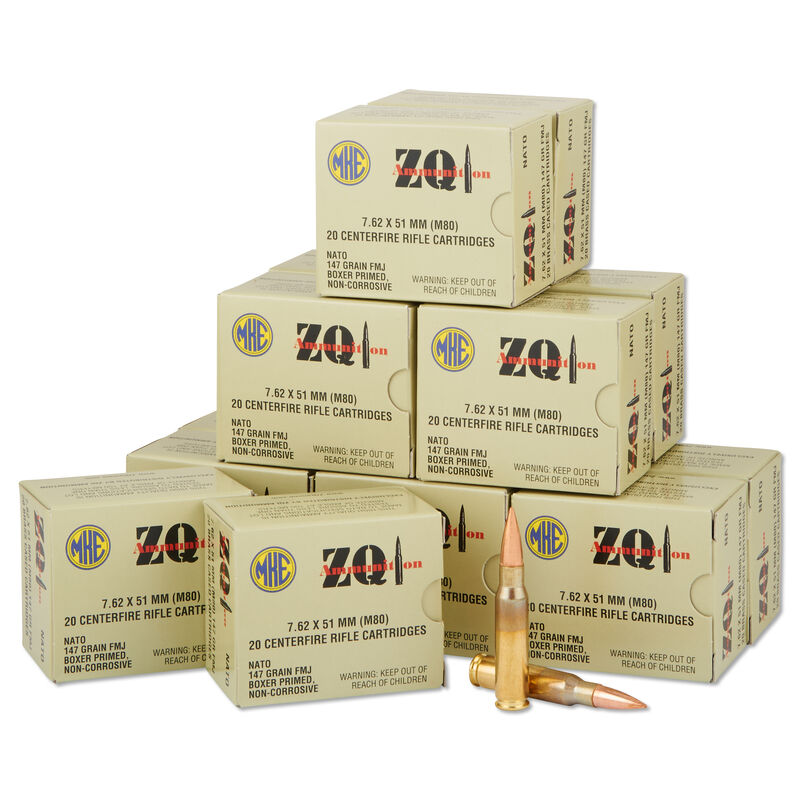 ZQI Ammunition M80  308/7 62x 51 NATO Full Metal Jacket, 147 Grains, 2713  fps, 640 Round Case Consisting of 32 Boxes, 20 Rounds per Box, MKE762B20GN