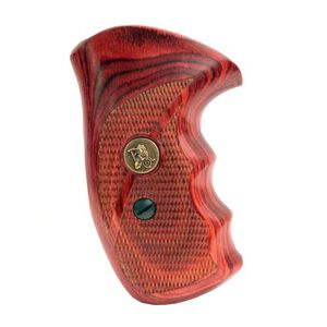 Pachmayr Renegade Deluxe Wood Laminate Revolver Grips S&W K/L Frame Round Butt Revolver Checkered Cut Panels Rosewood