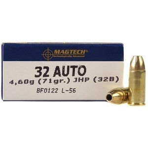 Magtech .32 ACP Ammunition 50 Rounds JHP 71 Grains 32B