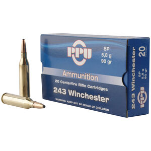 Prvi Partizan PPU .243 Win Ammunition 20 Rounds 90 Grain SP 3100fps
