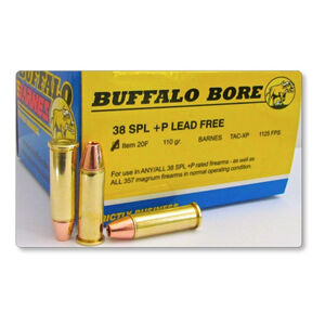 Buffalo Barnes .38 Special +P Ammunition 240 Rounds Lead Free TAC-XP 110 Grains 20F/20