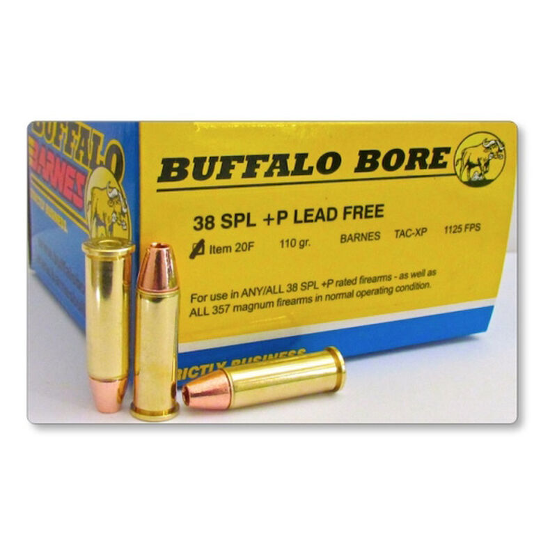 Buffalo Barnes  38 Special +P Ammunition 240 Rounds Lead Free TAC-XP 110  Grains 20F/20