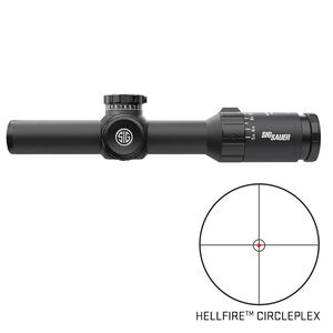 SIG Sauer Whiskey5 1-5x20 Riflescope Illuminated Hellfire CirclePlex Reticle 30mm Tube .50 MOA Adjustment Second Focal Plane CR2032 Battery Black Finish