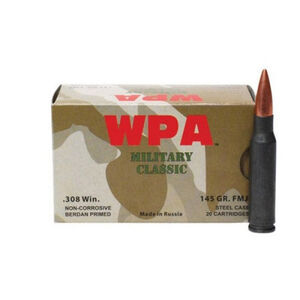 Wolf Military Classic .308 Winchester Ammunition 145 Grain Bi-Metal FMJ Steel Case 2750 fp