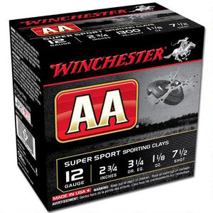 "Winchester AA Super Sport 12 Gauge Shot Shells 250 Rounds 2 3/4"" #7.5 Lead 1 1/8 Ounce AASC127"