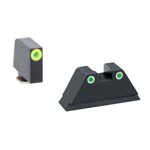 Ameriglo XL Tall Sight Set for GLOCK Green Tritium Front Dot with LumiGreen Outline and Green Tritium with White Outline Rear Dot