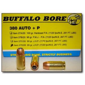 Buffalo Bore .380 ACP +P Ammunition 20 Rounds JHP 95 Grains 27D/20