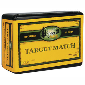 "Speer .22 Caliber .224"" Rifle Bullets, 100 Projectiles, Match JHP, 52 Grains"