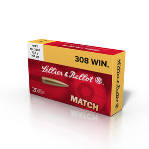 Sellier & Bellot Match .308 Winchester Ammunition 20 Rounds 168 Grain HPBT 2628 fps
