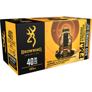 Browning .40 S&W Ammunition 500 Rounds FMJ 165 Grains