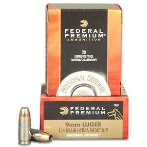 Federal Personal Defense 9mm Ammunition 20 Rounds JHP  Hydra-Shok 124 Grain 1,120 Feet Per Second