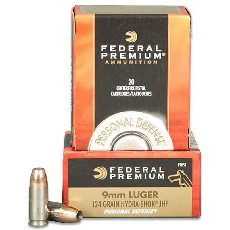 Federal Hydra-Shok 9mm Luger Ammunition 20 Round 124 Grain Jacketed Hollow Point Nickel Plated Brass 1120fps