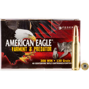 Federal American Eagle .308 Win Ammunition 40 Rounds 130 Grain Varmint & Predator JHP Bullet 3050fps