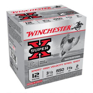 "Winchester Super X 12 Gauge Ammunition 25 Rounds 3.5"" #2 Steel WEX12L2"