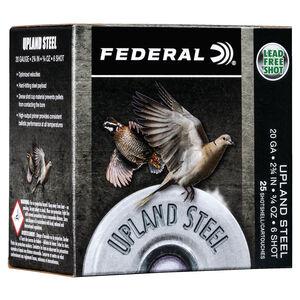 """Federal Upland Steel 20 Gauge Ammunition 2-3/4"""" #6 Steel Shot 3/4 Ounce 1500 fps"""