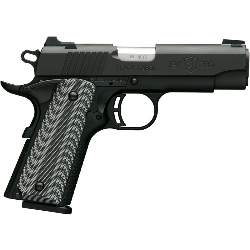 "Browning 1911-380 Black Label Pro Compact with Night Sights .380 ACP Semi Auto Handgun 8 Rounds 3.625"" Barrel G10 Grips Matte Black"