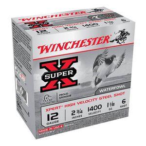 """Winchester Super X Expert 12 Gauge Ammunition 25 Rounds 2.75"""" #6 Steel 1.125 Ounce WEX12H6"""