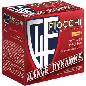 Fiocchi Range Dynamics 9mm Luger Ammunition 1000 Rounds 115 Grain FMJ TC 1200fps