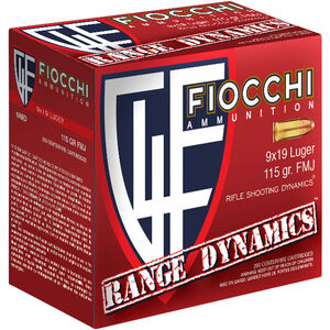 Fiocchi Range Dynamics 9mm Luger Ammunition 1000 Rounds 115 Grain FMJ TC 1200fps
