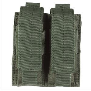 Voodoo Tactical Double Pistol Magazine Pouch Velcro Closure MOLLE Compatible Nylon OD Green