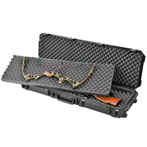 "SKB iSeries 5014 Double Bow/Rifle Case 50"" x 13.50"" x 6.00"" Custom Foam Interior Latch Closure Carry Handle Waterproof Hard Shell Polymer Matte Black 3i-5014-DB"