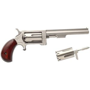 "North American Arms Sidewinder Single Action Revolver .22 LR/WMR 4"" Barrel 5 Rounds Rosewood Bird's Head Grip Stainless Steel"