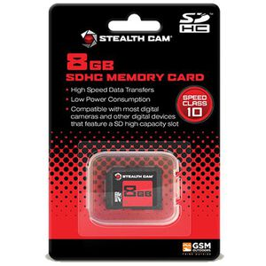 Stealth Cam 8GB SD Memory Card Single Card Pack Speed Class 10 High Speed Data Transfers/Lower Power Consumption STC-8GB