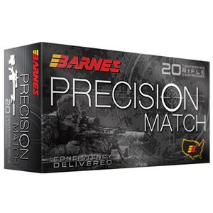 Barnes Precision Match 5.56 NATO Ammunition 20 Rounds 85 Grain Open Tip Match Boat Tail Projectile
