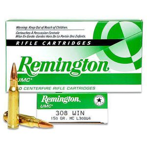 Remington UMC .308 Win Ammunition 150 Grain FMJ 2820fps