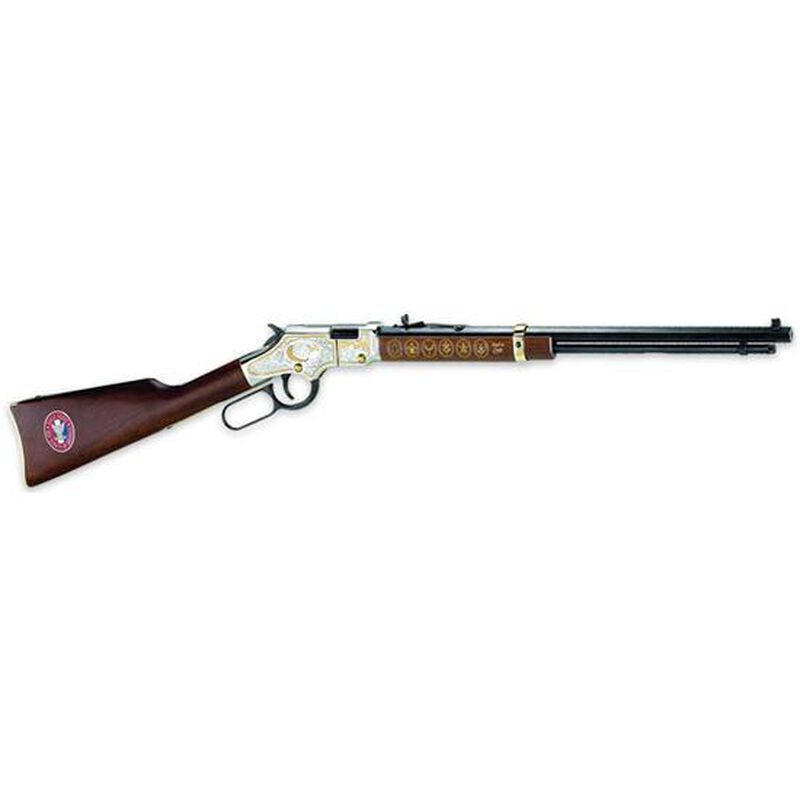 """Henry Repeating Arms Golden Boy Eagle Scout Tribute Edition Model H004E2 Lever Action Rimfire Rifle .22 Long Rifle 20"""" Octagon Barrel 16 Rounds American Walnut Stock Golden Finish with Engravings"""
