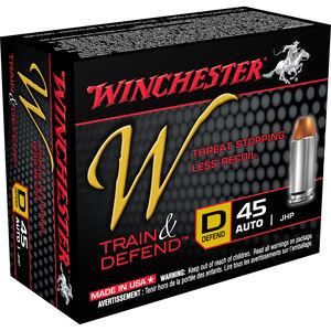 Winchester W Train and Defend .45 ACP Ammunition 230 Grain JHP 850 fps