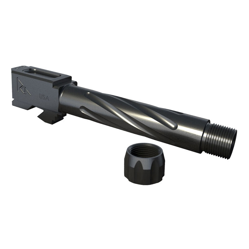 Rival Arms Barrel for GLOCK 19 Gen 3/4 Models 9mm Luger Fluted/Threaded 1/2x28 416R Stainless Steel PVD Coating Graphite Gray Finish