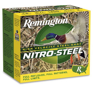 "Remington Nitro Steel HV 12 Gauge Ammunition 25 Rounds 2-3/4"" Length 1-1/4 Ounce #4 Steel Shot 1275fps"