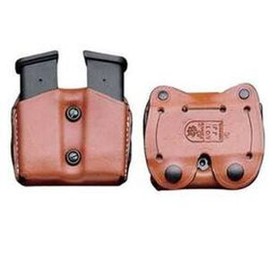 Desantis Double Magazine Pouch Double Stack 9mm And 40 S&W Caliber Mags Ambidextrous Leather Tan A01TJGGZ0