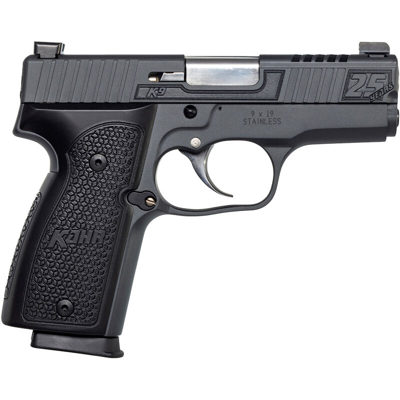"Kahr 25th Anniversary K9 9mm Luger Semi Auto Pistol 3.5"" Barrel 7 Rounds Night Sights Steel Frame Hogue Aluminum Grips Sniper Gray Finish"