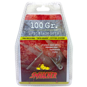 """Swhacker Products Set of 6, 100 Grain 1.75"""" Broadhead Replacement Blades Stainless Steel 6 Blades with Shrink Tubing SNJ-580-LGYUM"""