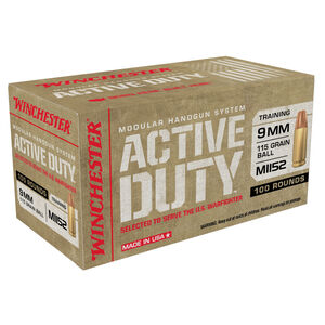 Winchester USA Active Duty 9mm Luger Ammunition 100 Rounds 115 Grains Flat Nose FMJ 1320 fps