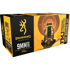 Browning 9mm Luger Ammunition 100 Rounds 115 Grain FMJ 1190 fps