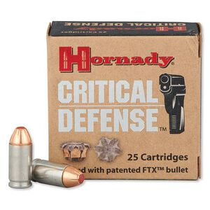 Hornady Critical Defense 9x18 Makarov Ammunition 25 Rounds FTX HP 95 Grains 91000