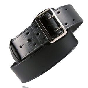 """Boston Leather 6501 Fully Lined Sam Browne Leather Duty Belt 60"""" Chrome Buckle Plain Leather Black"""