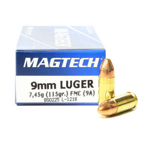 Magtech 9mm Luger Ammunition 1000 Rounds 115 Grain Full Metal Jacket 1135fps