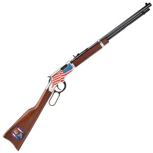 "Henry Golden Boy Stand for the Flag Edition Lever Action Rifle .22 Long Rifle 20"" Octagon Barrel 16 Rounds Adjustable Sights American Walnut Stock Nickel Plated Receiver Blued Barrel Finish"