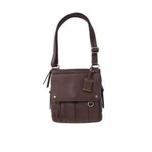 "Bulldog Cases Cross Body Style Purse 11"" X 11"" X 2"" Leather Med Chocolate Brown"