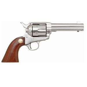 "Cimarron Model 'P' Single Action Revolver .45 Long Colt 4.75"" Barrel 6 Rounds Stainless Steel Pre-War Walnut Grip MP4500"