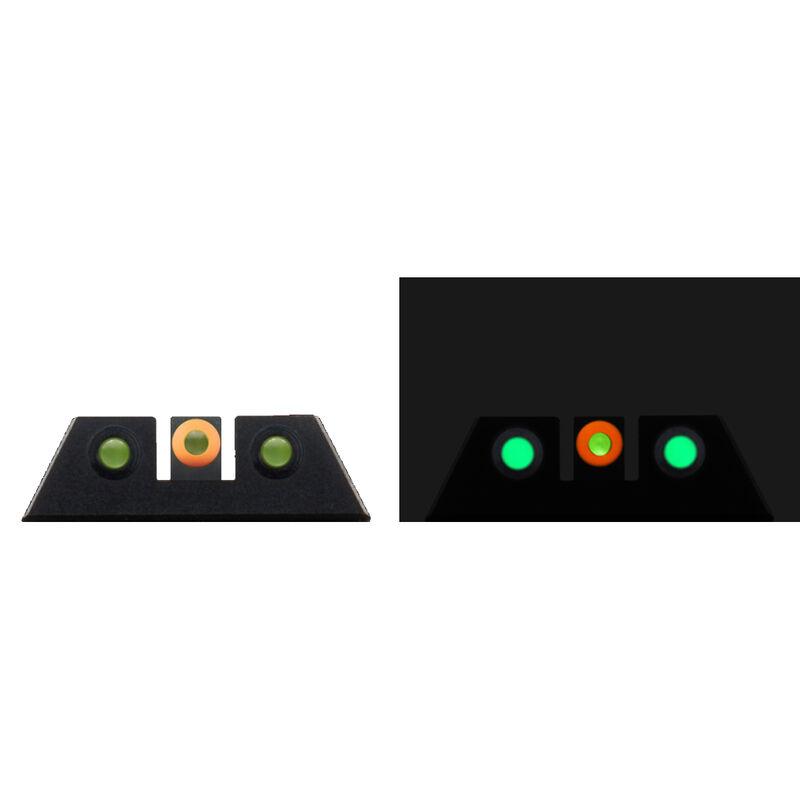 Night Fision Glow Dome Tritium Night Sight Set Fits GLOCK 42/43/43x Models Green Tritium/Orange Ring CNC Machined Housing Black Finish