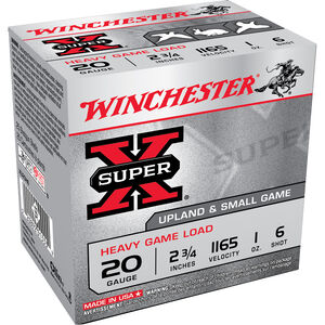 "Winchester Super-X Heavy Game 20 Gauge Ammunition 25 Rounds 2 3/4"" #6 Lead Shot 1 Ounce XU20H6"