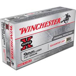 Winchester Super X 9mm Luger Ammunition 50 Rounds, Silvertip HP, 147 Grains